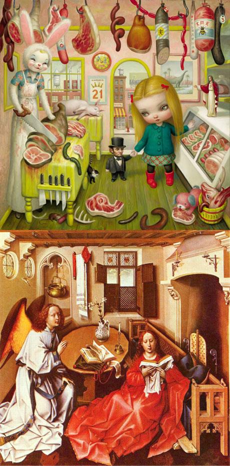 The Butcher Bunny - Mark Ryden / L'Annonce faite à Marie - Robert Campin