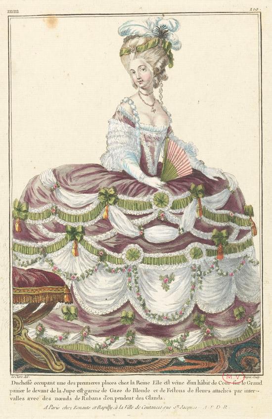Duchesse occupant une des premières places chez la reine Marie-Antoinette - Nicolas Dupin ( ?-après 1789), d'après Sébastien Jacques Leclerc (1736-1785) - © RMN (Château de Versailles) / Gérard Blot