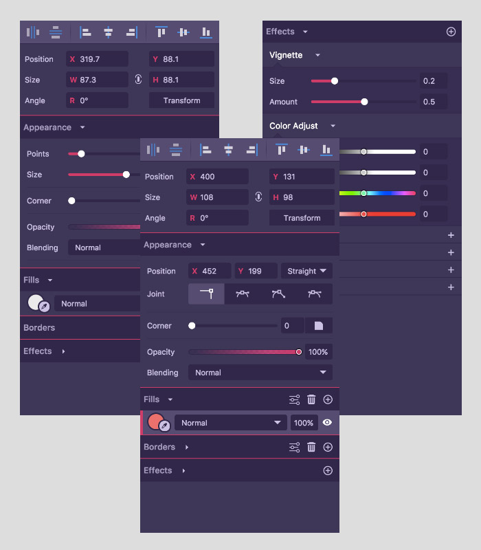 Interface de Gravit Designer